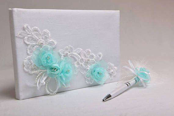 Livre d'or mariage chic dentelle et fleur aqua avec stylo