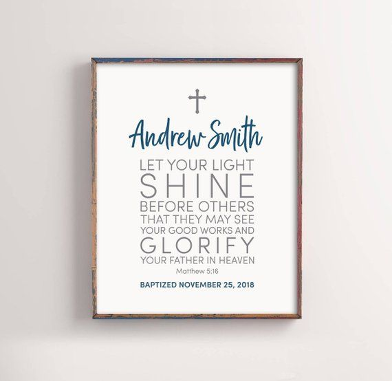 Personalized Baptism Gift Let Your Light Shine Baby Boy