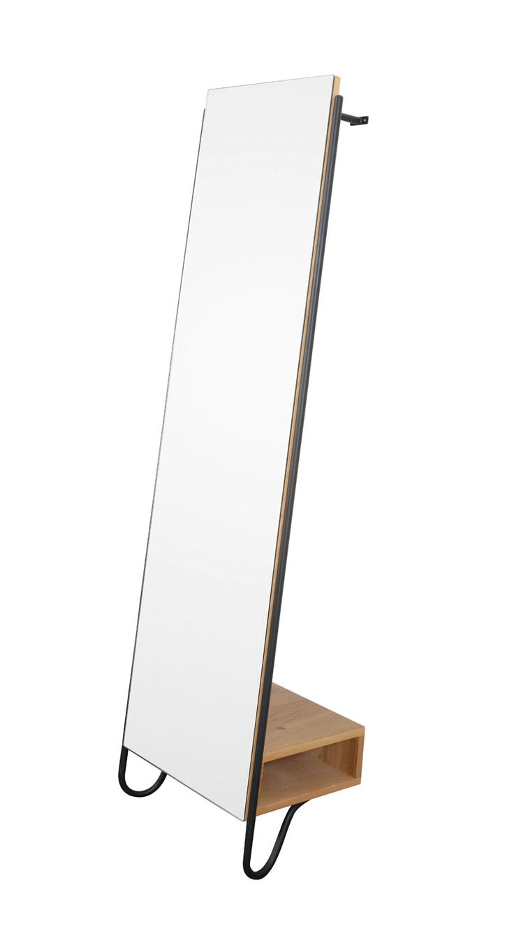 Steel & wood space saving design, perfect for city living. Heal's Brunel Lean-To Mirror by Rob Scarlett. Inspired by pieces from the Heal's archive, the Brunel lean mirror is a full length, wall leaning mirror with storage box and concealed hanging rail.