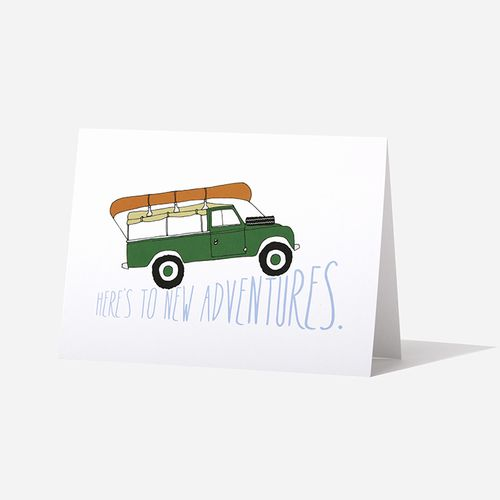 Here's to new adventures! Land Rover Birthday card.