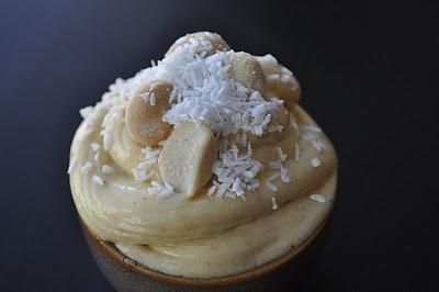 Homemade Banana Walnut Soft Serve with Coconut Shavings