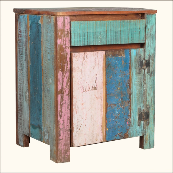 1B. Appalachian Rustic Multi-Color Old Wood Ice Box Cabinet