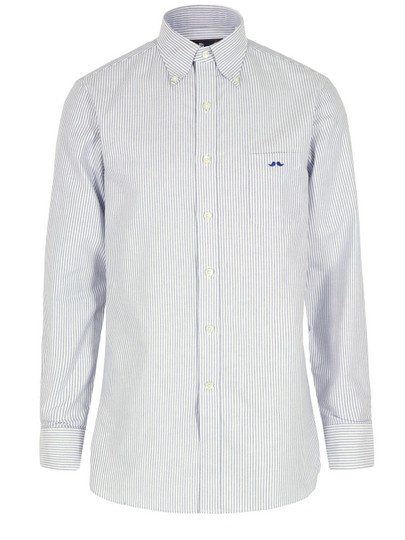 Mr. Bathing Ape £250 at Coggles.com– mens blue stripe Oxford shirt with a button down collar and long sleeves. The shirt also features a single chest pocket with Mr. Bathing Ape moustache logo, double button cuffs and a box pleated rear yoke. Woven in Italy.