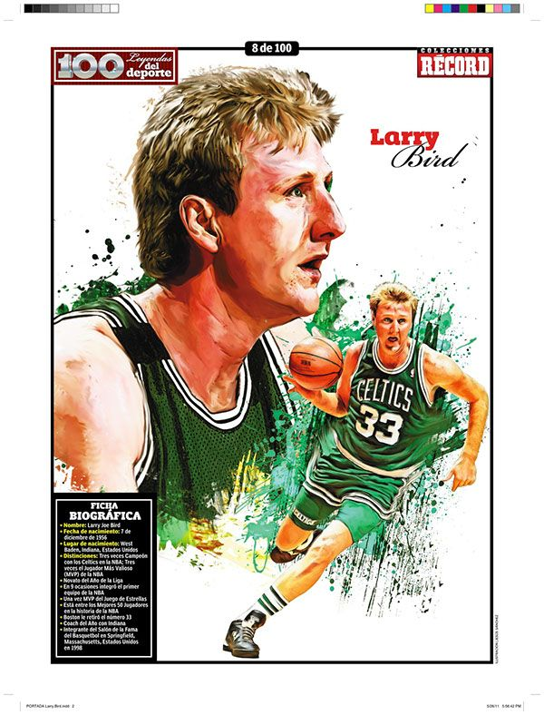 100 Illustrations Of Sports Legends Are Published Weekly Since May 2011 Deportes Leyendas Larry Bird