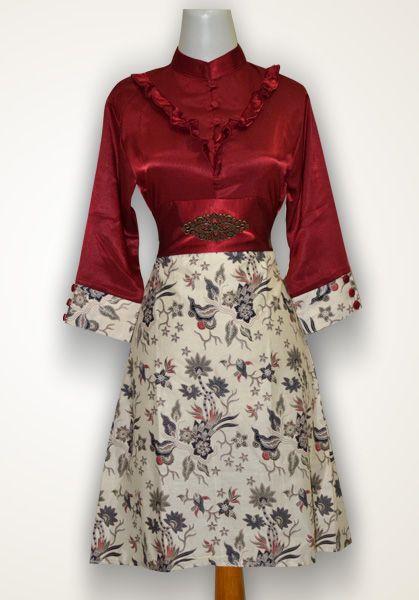 Gaun Batik Cantik nan Modern. bahan batik katun primis kombinasi kain satin velvet (polos)