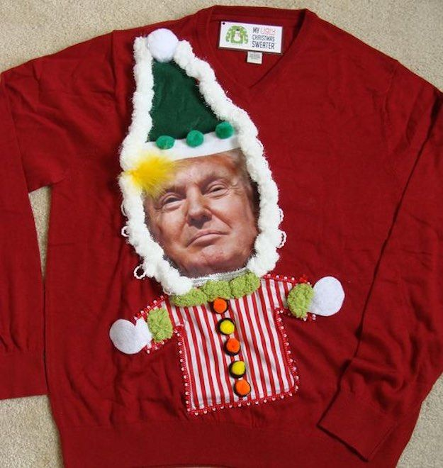 Donald Trump Christmas sweater | 5 Fun Ideas To Turn Heads At Christmas Sweater Parties