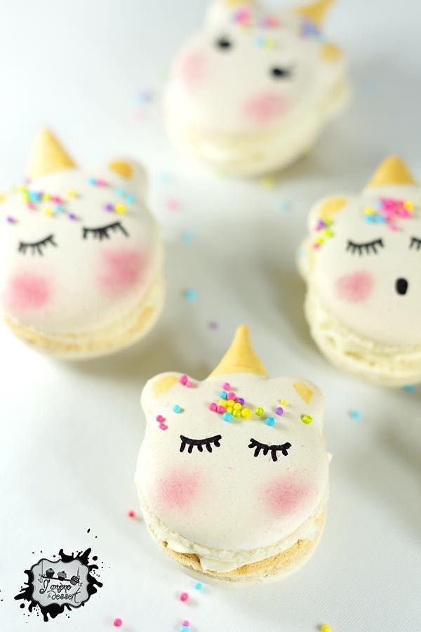 Macarons Licorne au Chocolat Blanc - J'amène Le Dessert