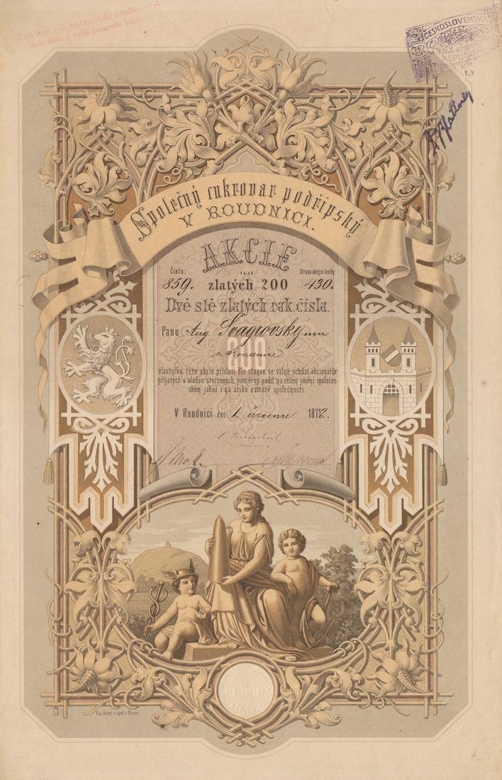 Společný cukrovar podřipský v Roudnici. Akcie na 200 Zlatých. Roudnice, 1872.