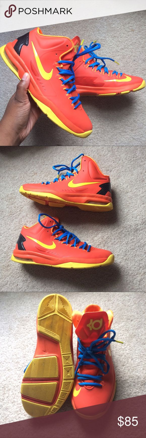 "NIKE KD V ELITE ""TEAM ORANGE"" Orange Nike KDs with yellow accents and blue laces! Released June 2013. SIZE 7 IN WOMEN. SIZE 5.5 IN BOYS Nike Shoes Sneakers"