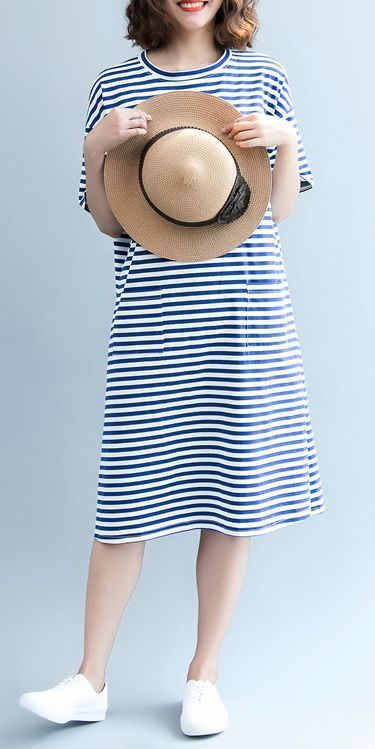 Casual Blue Striped Dresses Women Loose Cotton Clothes Q6084 ... 2271f00ac