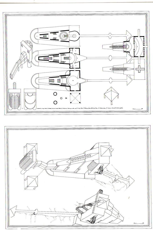1981_82 LA ZIZZOLA 1_ 2 tav. su carta da lucido cm. 60 x 80 by Brunetto De Batté