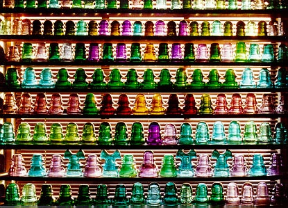 wonderful collection of colored glass insulators