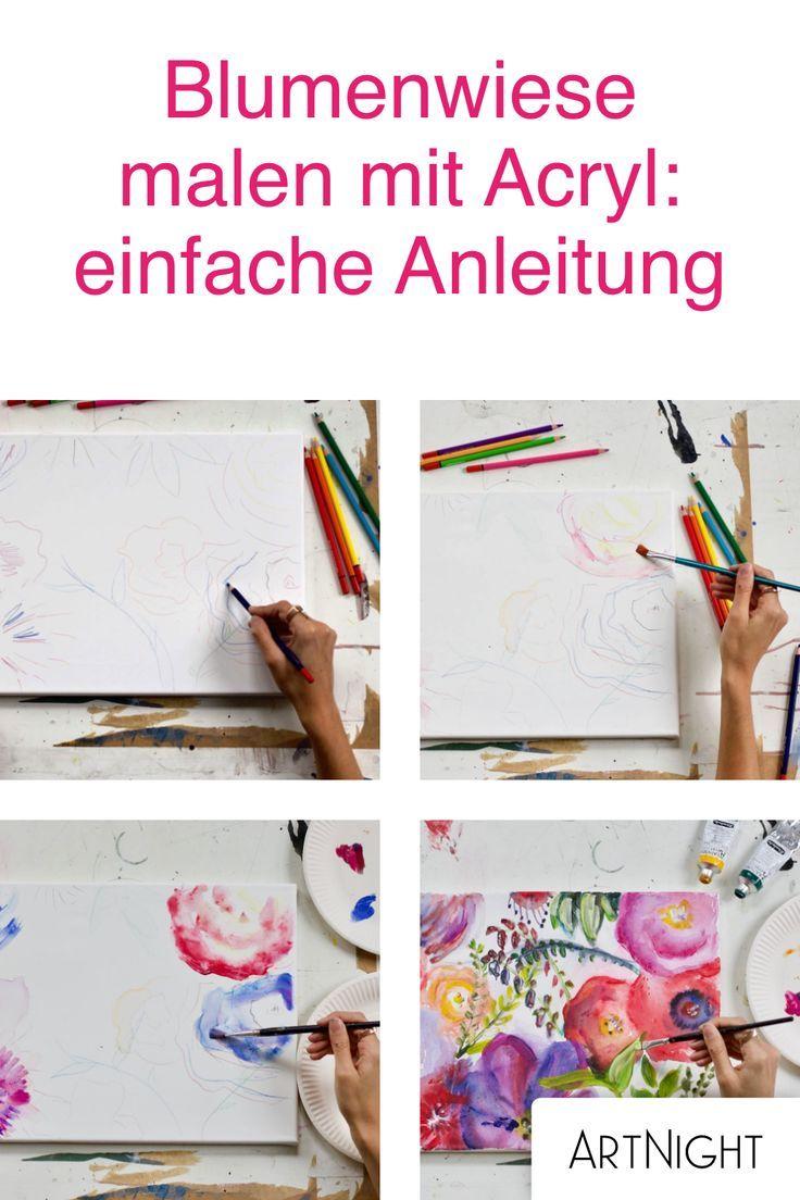 Blumenwiese Malen Mit Acryl Einfache Anleitung Acryl Malen