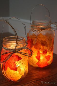 Bricolage, fabriquer des lanternes d'automne avec des feuilles :) Une belle idée de CestCaLaVie.com merci!