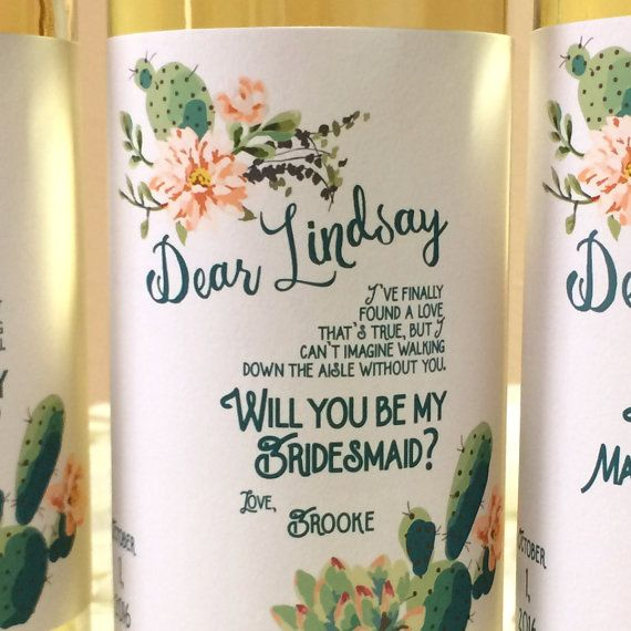 Be My Bridesmaid Proposal Wine Labels / Be My Maid of Honor / Cactus Wedding Personalized Wine Bottle Labels & Candle Labels / Texas Wedding