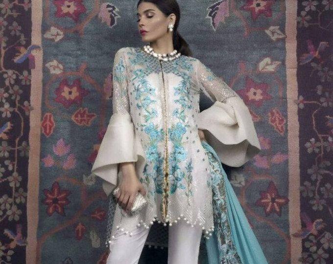Sana Safinaz 2017-02B réplica, cosido vestido 4-Pc, blanco y turquesa, indio, paquistaní, réplica de Bollywood