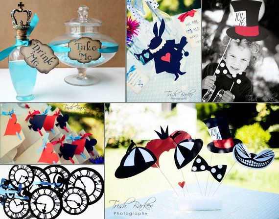 Alice in wonderland party printable photo booth props diy