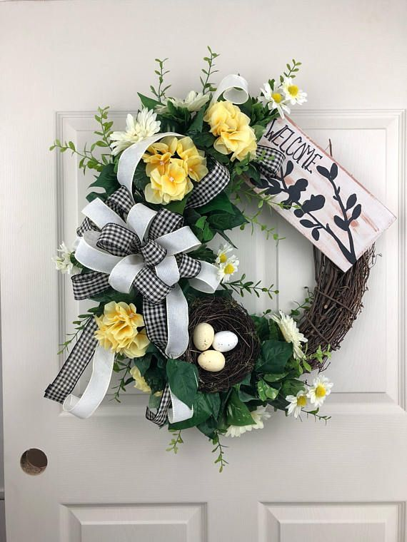 Spring Wreath For Front Door Flower Wreath Everyday Wreath Welcome Wreath Grapevine Wreath Spring Wreath Porch Decor Wreath Decor Wreaths Spring Wreath Outdoor wreaths for front door