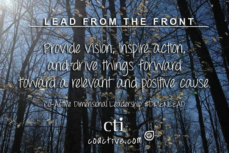 Lead from the Front. Provide vision, inspire action, and drive things forward toward a relevant and positive cause. Co-Active Dimensional Leadership #DimenLead