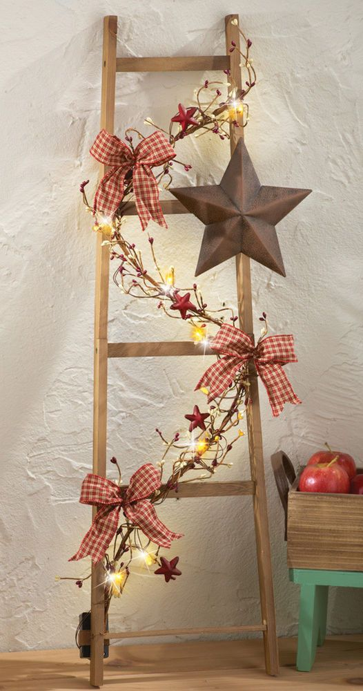 LED Lighted  Primitive Vine Ladder Living Room, Bedroom, Country Home Decoration #Country