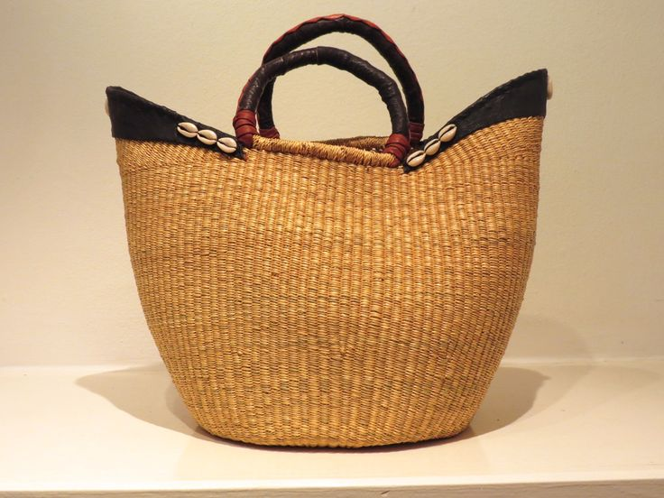Fibre, leather and cowrie shell basket, Ghana at Kim Sacks Gallery Johannesburg