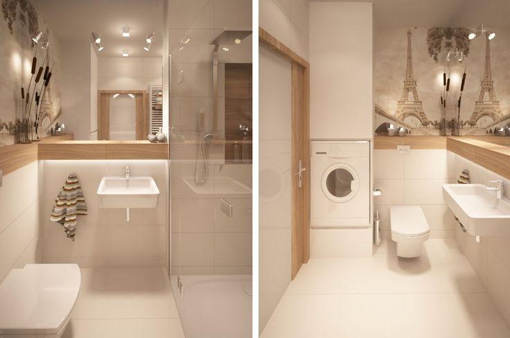 Aranżacja łazienki wystrój nowoczesny w kolorach biel, brąz, beż - projekt wnętrza #9395430, Homplex