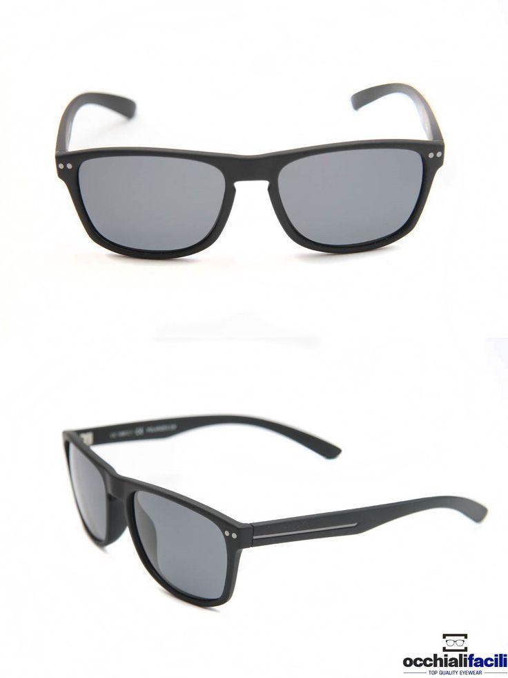 Occhiali da sole Mata CC1060 C1, in acetato nero lucido con interni grigio scuro, lenti polarizzate e ponte a chiave. http://www.occhialifacili.com/prodotto/occhiali-da-sole-mata-cc1060-c2/