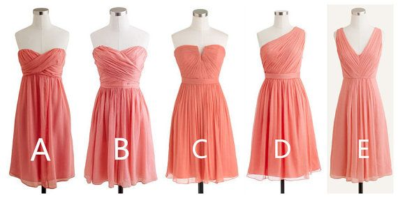 Coral Chiffon Bridesmaid Dresses In Different by azhdress on Etsy, $89.00
