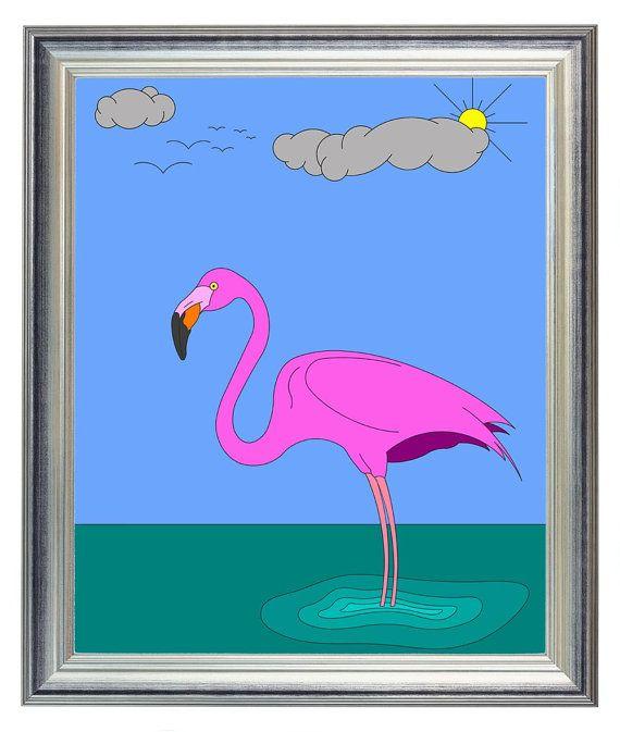 Bird Art Print Pink Flamingo Print Large Size 11x14 Home