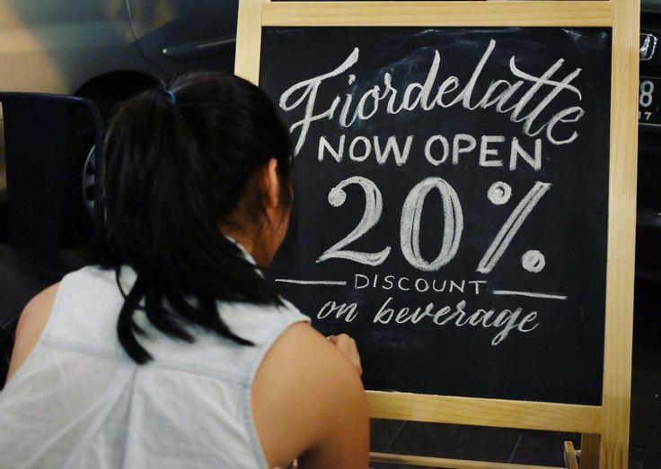 Chalkboard hand lettering for fiordelatte coffeeshop