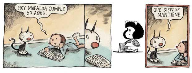 Mafalda. Quino. Enriqueta. Felini. Liniers. 50º cumpleaños.