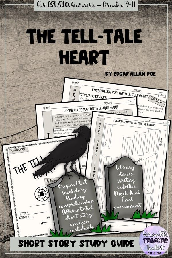 The Tell Tale Heart By E A Poe Short Story Unit Study Guide Storie Reading Comprehension Questions Paraphrasing Activitie Eap