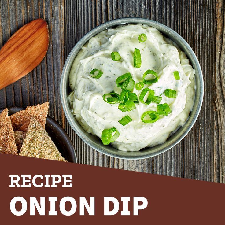 Try this delicious onion dip!  Ingredients: 8 ounces of softened cream cheese 1 cup of sour cream 2 cups of finely diced green onions 1/2 cup diced parsley 2 teaspoons minced garlic 1/2 teaspoon vinegar salt and pepper to taste . In a food processor, pulse the cream cheese and sour cream until well combined. Stir in the remaining ingredients. Cover and refrigerate for 2 hours before serving.