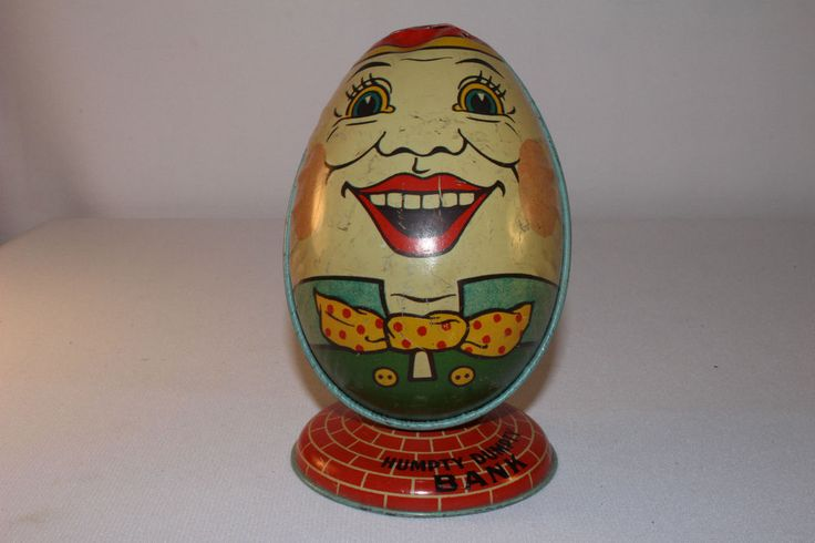 1930's Tin Toy Humpty Dumpty Egg Head Bank J.Chein, Original