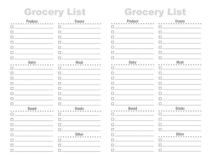 Grocery List Template Blank Grocery List Template Excel Grocery - printable grocery list template