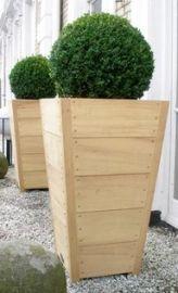 Hardhouten plantenbakken met buxus bol tegen de gevel van een wit geschilderde woning.  Hardhouten plantenbakken zijn in verschillende modellen en maten te koop in onze webshop www.hettuinleven.com/c-2129443-2/hardhout/