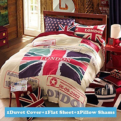 casa children 100 cotton series british flag duvet cover pillow cases flat piecesqueen check out the image by visiting the link