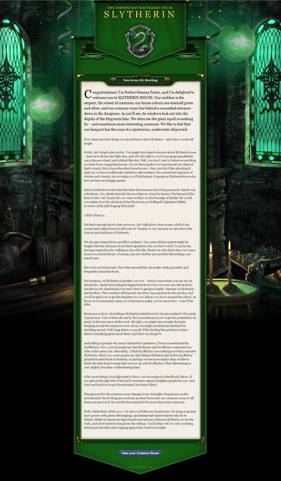 slytherin house welcome letter -#main