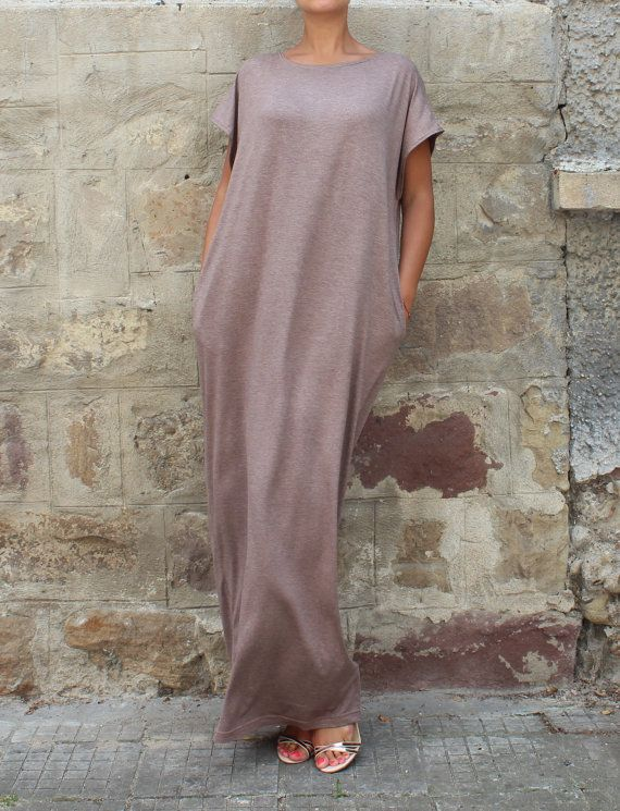 Backless Caftan Dress Mocha Oversized Dress by cherryblossomsdress