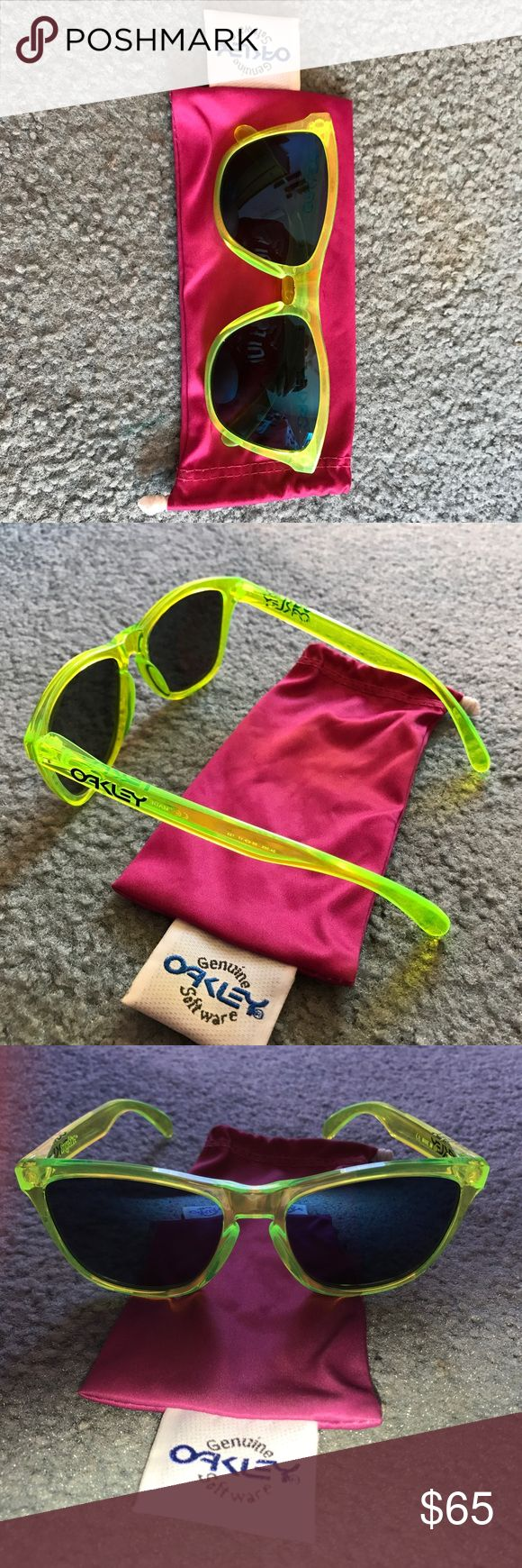"""Polarized Oakley Frogskins 100% authentic Oakley Frogskins with Polarized lenses. Soft case included. Gently used and lenses are scratch free! The frame is """"acid"""" yellow and the lenses have a faint blue mirror. Unisex Oakley Accessories Sunglasses"""