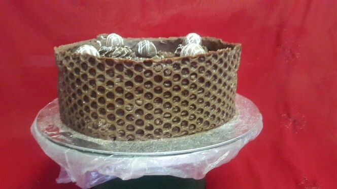 Bubble wrap chocolate covered cake