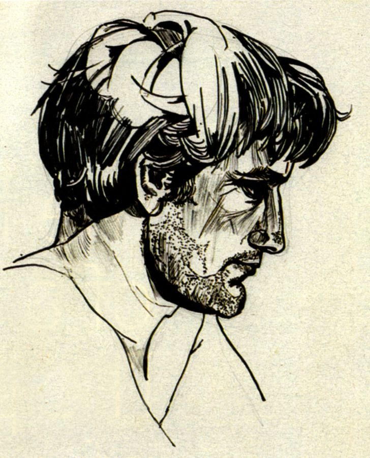 Portrait of Ted Hughes by Sylvia Plath, 1956.