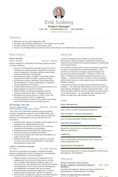 exemple cv project manager