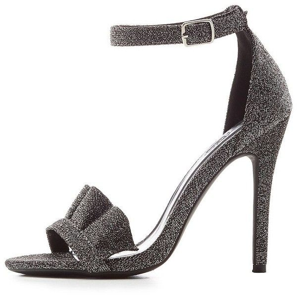 Charlotte Russe Ruffle-Trim Two-Piece Dress Sandals ($20) ❤ liked on Polyvore featuring shoes, sandals, grey, cushioned sandals, grey heeled sandals, grey sandals, ankle strap heel sandals and braided ankle-wrap sandal