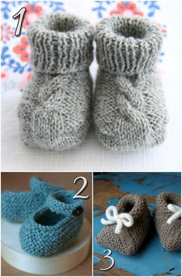 Baby Knitting Patterns Free Pinterest : 10 Free Knitting Patterns For Baby Shoes!   Blissfully ...