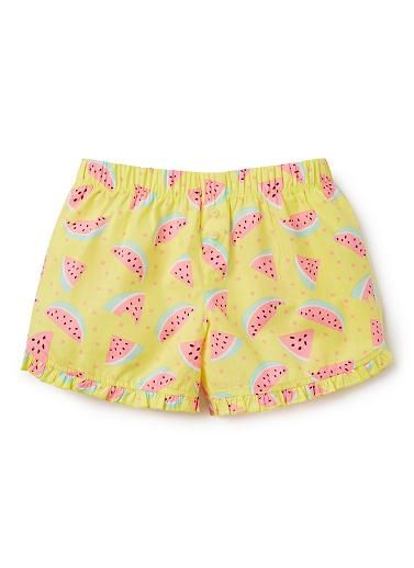 100% Cotton PJ Shorts. Woven poplin PJ shorts with elasticated waistband and frill at hem. Features all-over fruit print. Comes in two colours to mix and match with PJ cami tops. Relaxed fitting silhouette. Sold separately.