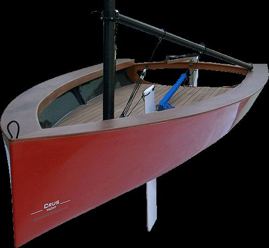 Truc 12 single-handed sail boat constructed of FRP with wood trip