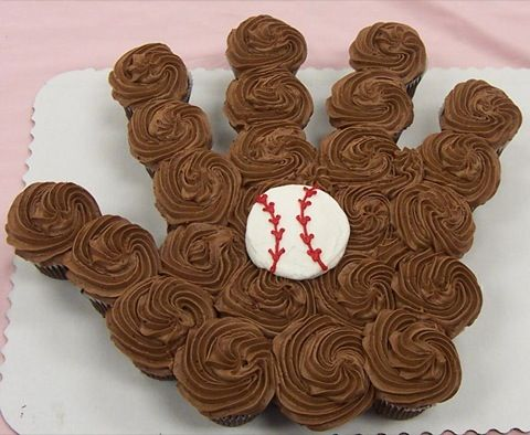 Baseball Party Cake Idea! Baseball glove & ball  made of cupcakes - Great Idea for kid's party!