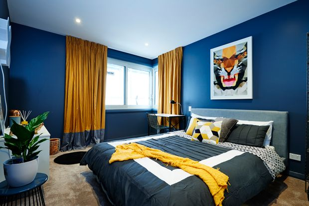 The moody colour with bright pops of yellow had the judges wowed! Maree and James' teenage room The Block NZ 2014