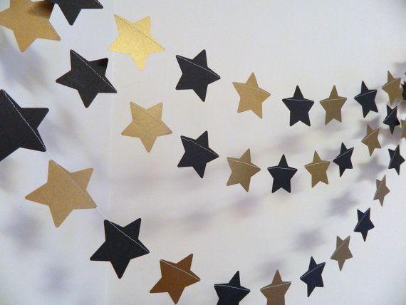 Star Wars geïnspireerde verjaardag Garland - goud en zwart ster Garland - goud…